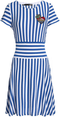 Love Moschino Appliqued Striped Stretch-jersey Mini Dress