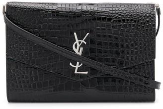 Saint Laurent Crocodile Effect Envelope Shoulder Bag