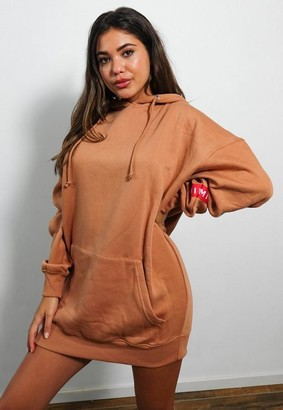 Missguided Camel Hooded Brushed Back Sweater Dress