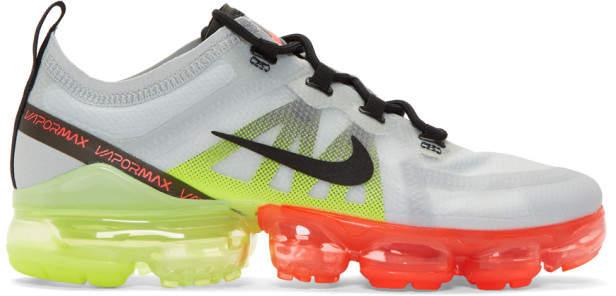 Nike Grey and Orange Air Vapormax 2019 Sneakers