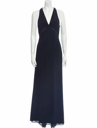Valentino V-Neck Long Dress Black