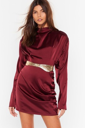Nasty Gal Womens In a Ruche Satin High Neck Blouse - Red - 6