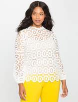 ELOQUII Plus Size Studio Long Sleeve Crochet Lace Blouse