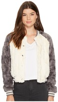 BB Dakota Aisen Swirly Textured Faux Fur Color Blocked Bomber Women's Coat