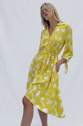 French Connection Abita Drape Long Sleeve Belted Dress