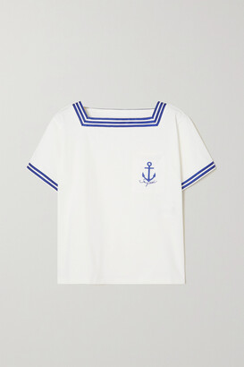 SEE BY CHLOE - Striped Embroidered Cotton-jersey T-shirt - White