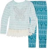 Knitworks Knit Works Lace Bottom Embellished Top, Legging Set