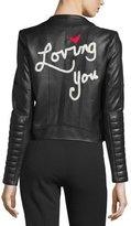 Alice + Olivia Gamma Loving You Embroidered Leather Biker Jacket