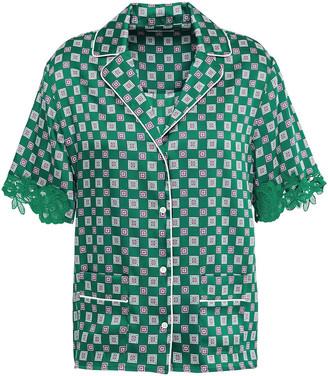 Sandro Hena Guipure Lace-trimmed Satin Shirt