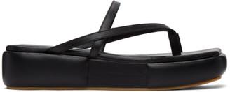 Flat Apartment Black Puffed Platform Sandals