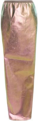 Rick Owens Coated Iridescent Cotton-blend Maxi Skirt