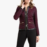 Anne Weyburn Short Fitted Jacquard Jacket with Pockets and Faux Leather Trim