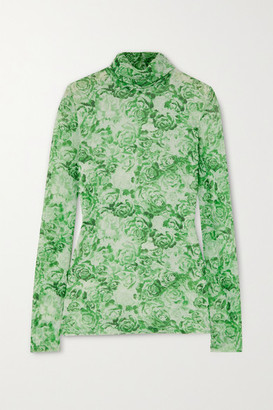 Ganni Floral-print Stretch-mesh Turtleneck Top - Light green