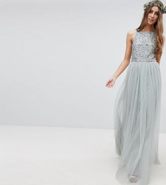 Maya Tall Sleeveless Sequin Bodice Tulle Detail Maxi Bridesmaid Dress With Cutout Back-Green