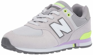 New Balance Girls' 574 Trainers White/Navy 10 (28 EU)