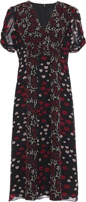 Anna Sui Shirred Printed Silk-chiffon Dress