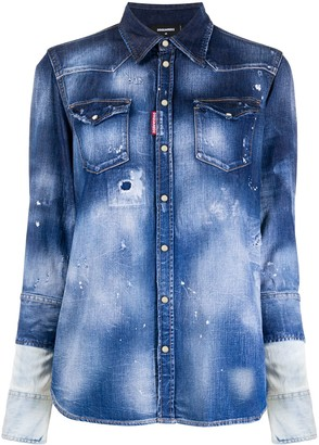 DSQUARED2 Faded Distressed Denim Jacket