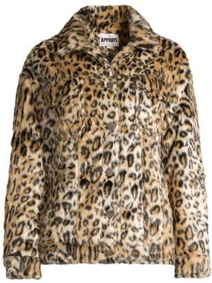 Apparis Lauren Leopard-Print Faux Fur Jacket