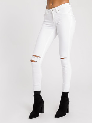 Articles of Society Lisa Slit Knee Cropped Jeans in Optic White Denim