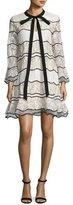 Sachin + Babi Slipper Long-Sleeve Paneled Lace Cocktail Dress, Ivory