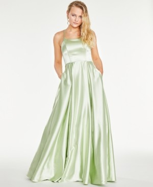 Speechless Juniors' Strappy-Back Satin Ball Gown, Created for Macy's