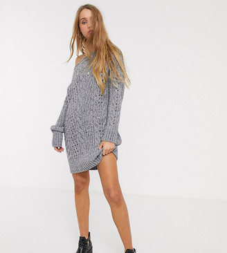 Asos Tall ASOS DESIGN Tall off shoulder knitted mini dress with stitch detail