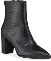 Stuart Weitzman Bina Mock-Croc Zip Booties