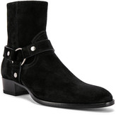 Saint Laurent Wyatt Suede Harness Boots in Black   FWRD