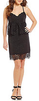 Gianni Bini Monica V-Neck Sleeveless Lace Peplum Dress