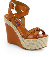 Ralph Lauren Filipina Leather Espadrille Wedge Sandals