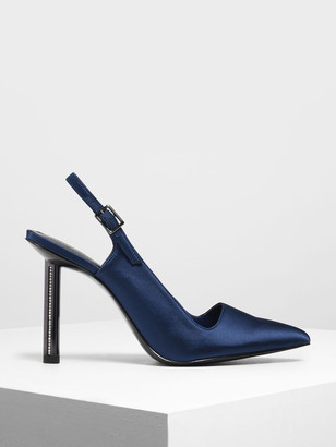 Charles & Keith Gem Encrusted Blade Heel Pumps