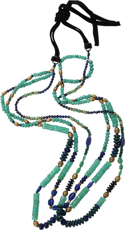 Lapis ROYAL NOMAD JEWELRY Two Strand Chrysoprase, Lapis, And Azurite Bead Necklace
