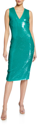 Sally LaPointe Sequined V-Neck Shift Dress