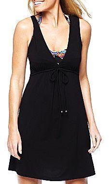 Porto Cruz Black Tie-Front Cover-Up Dress