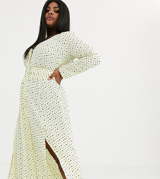 ASOS DESIGN Curve midi dress with buckle belt in polka dot
