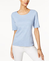 Karen Scott Lace-Up Elbow-Sleeve Top, Only at Macy's