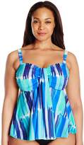 Fit 4 U Women's Plus-Size Seaport Microfiber Waterfall Bandeau Tankini Top