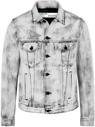 Off-White Grey logo-print bleached denim jacket