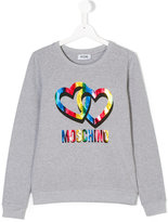 Moschino Kids Teen hearts and logo print sweatshirt