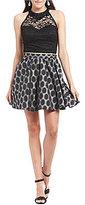 As U Wish Lace Top Dot-Print Skirt Two-Piece Dress