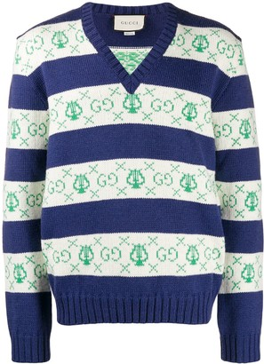 Gucci GG lyre striped jacquard knitted sweater