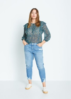 MANGO Ruffled floral blouse