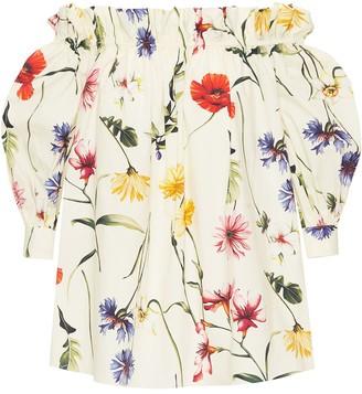 Oscar de la Renta Floral Print Off-Shoulder Top
