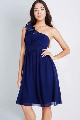 Little Mistress Navy One Shoulder Corsage Prom Dress