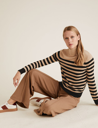 Marks and Spencer Pure Merino Wool Striped Roll Neck Jumper