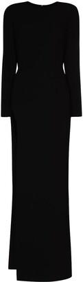 Mônot Crepe Side-Slit Maxi Dress