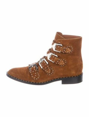 Givenchy Suede Studded Accents Lace-Up Boots Brown