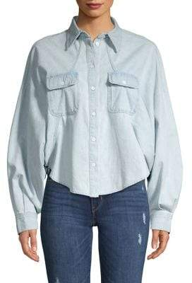 Caara Dolman-Sleeve Denim Shirt