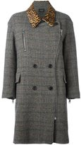 Isabel Marant 'Friso' checked contrast-collar coat - women - Cotton/Calf Leather/Acetate/Virgin Wool - 40