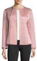 Joan Vass Quilted Satin Zip Jacket, Plus Size